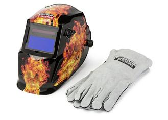 Darkfire 9-13 Auto-Darkening Welding Helmet with Gloves