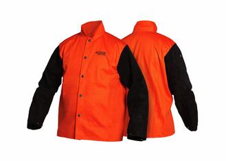 Traditional Split Leather Sleeved Jacket - Orange