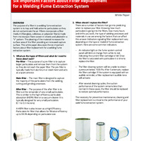 Six Important Factors about Filter Replacement for a Welding Fume Extraction System