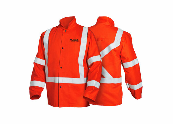 High Visibility FR Welding Jacket with Reflective Tape - Orange